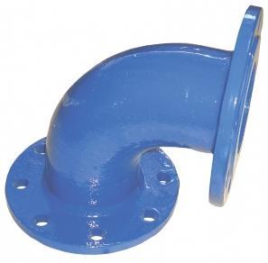 Чугунное колено может повернуть поток воды или газа под углом до 90 градусов