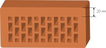Внешняя стенка силикатного утолщенного кирпича заметно толще внутренней